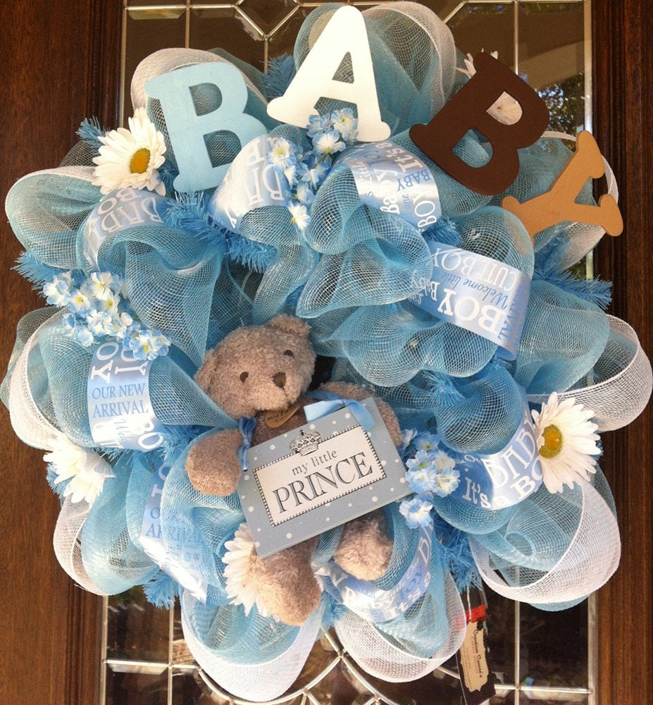 Items similar to welcome baby boy deco mesh wreath on etsy for Welcome home decorations for baby