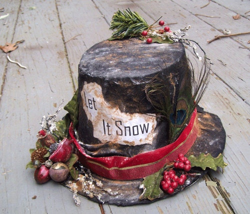 SNOWMAN HAT Primitive Holiday Decor Winter Christmas Wedding Top Hat PERSONALIZED or Let it Snow - Oddsurd