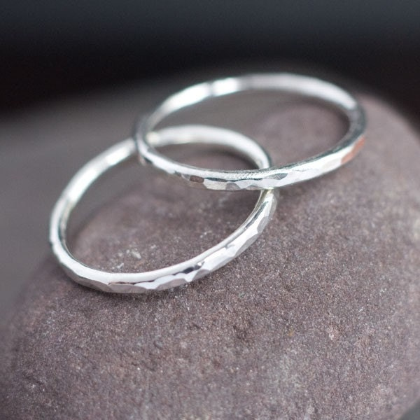 lina simple hammered sterling silver ring by blacksanddesigns