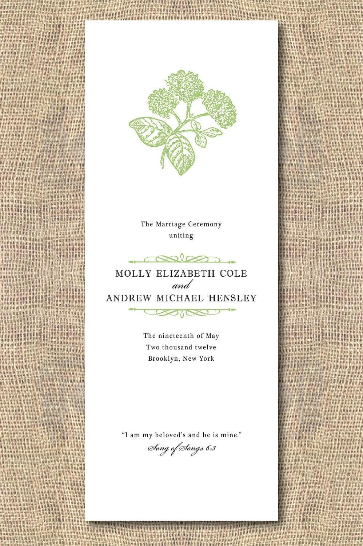 DIY Printable Wedding Program Hydrangea By Iheartpaperandthread