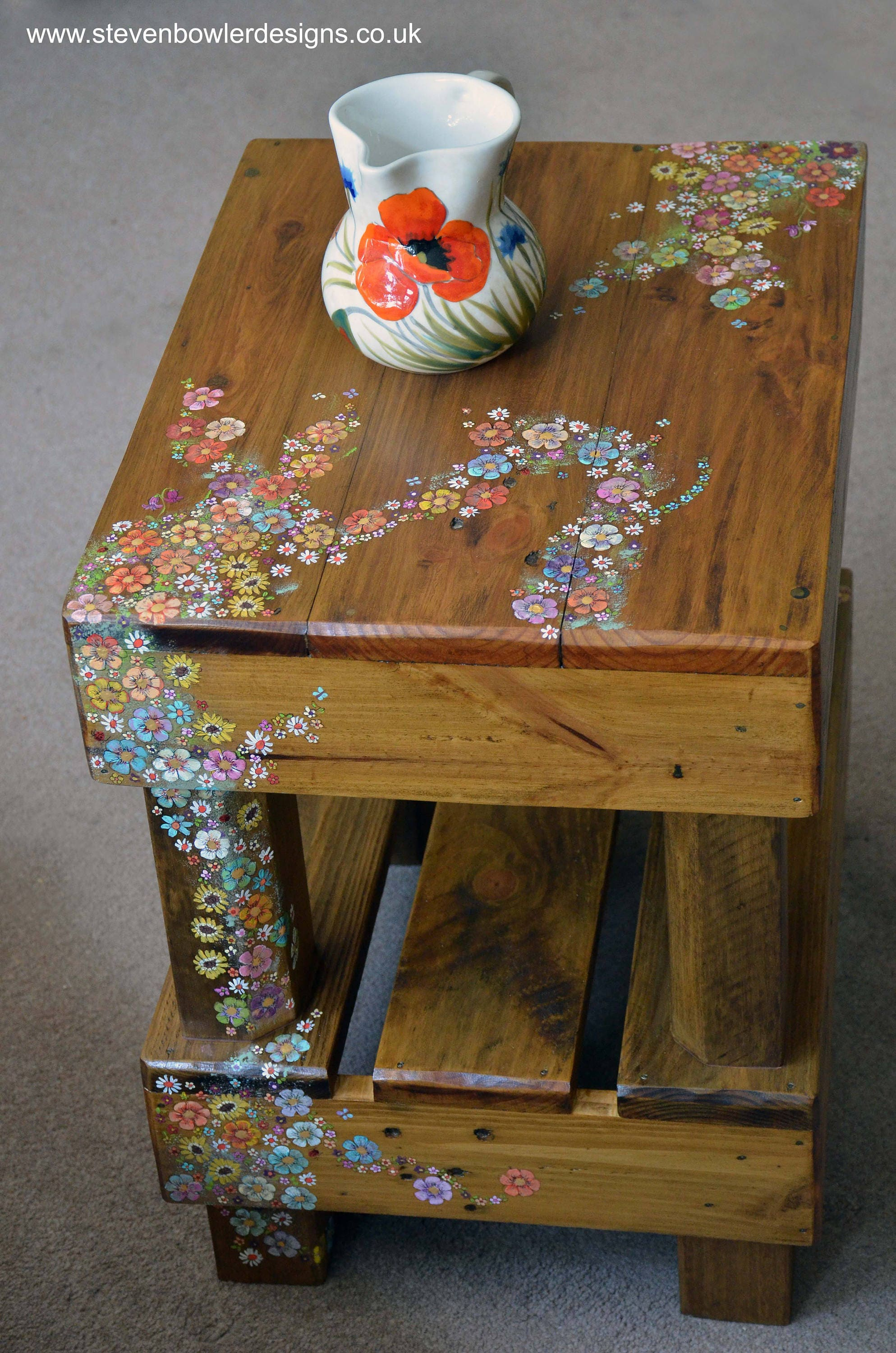 Handcrafted to Order One Rustic Reclaimed Wood Side Table Handpainted English Country Cottage Flower Design Bronze Tacks Undershelf Storage