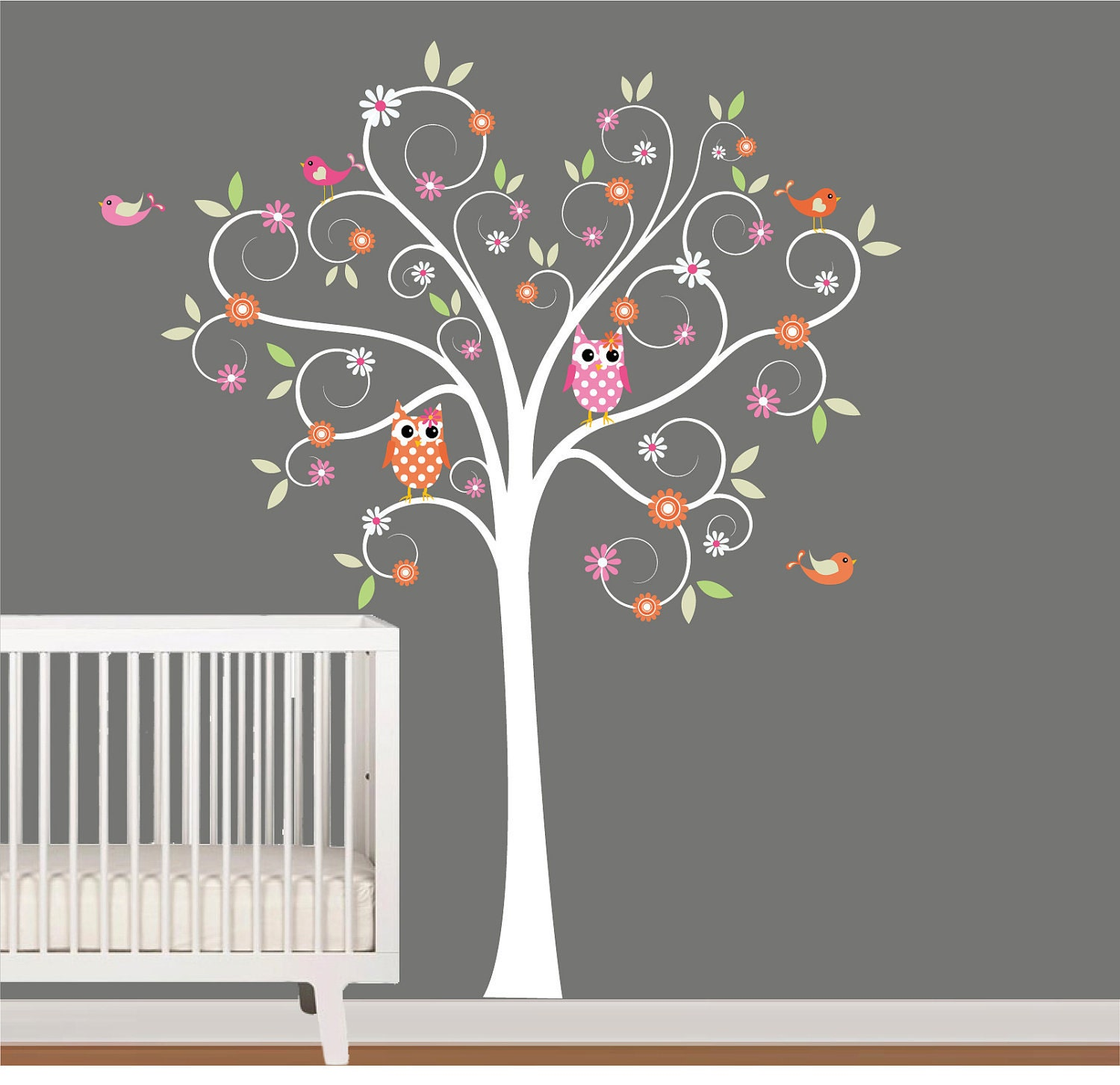 Wall Art Decals For Nursery : Kids wall decals nursery tree decal with flowers by