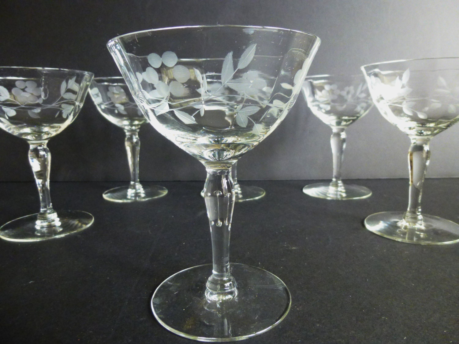 Etched Crystal Champagne Glasses Antique