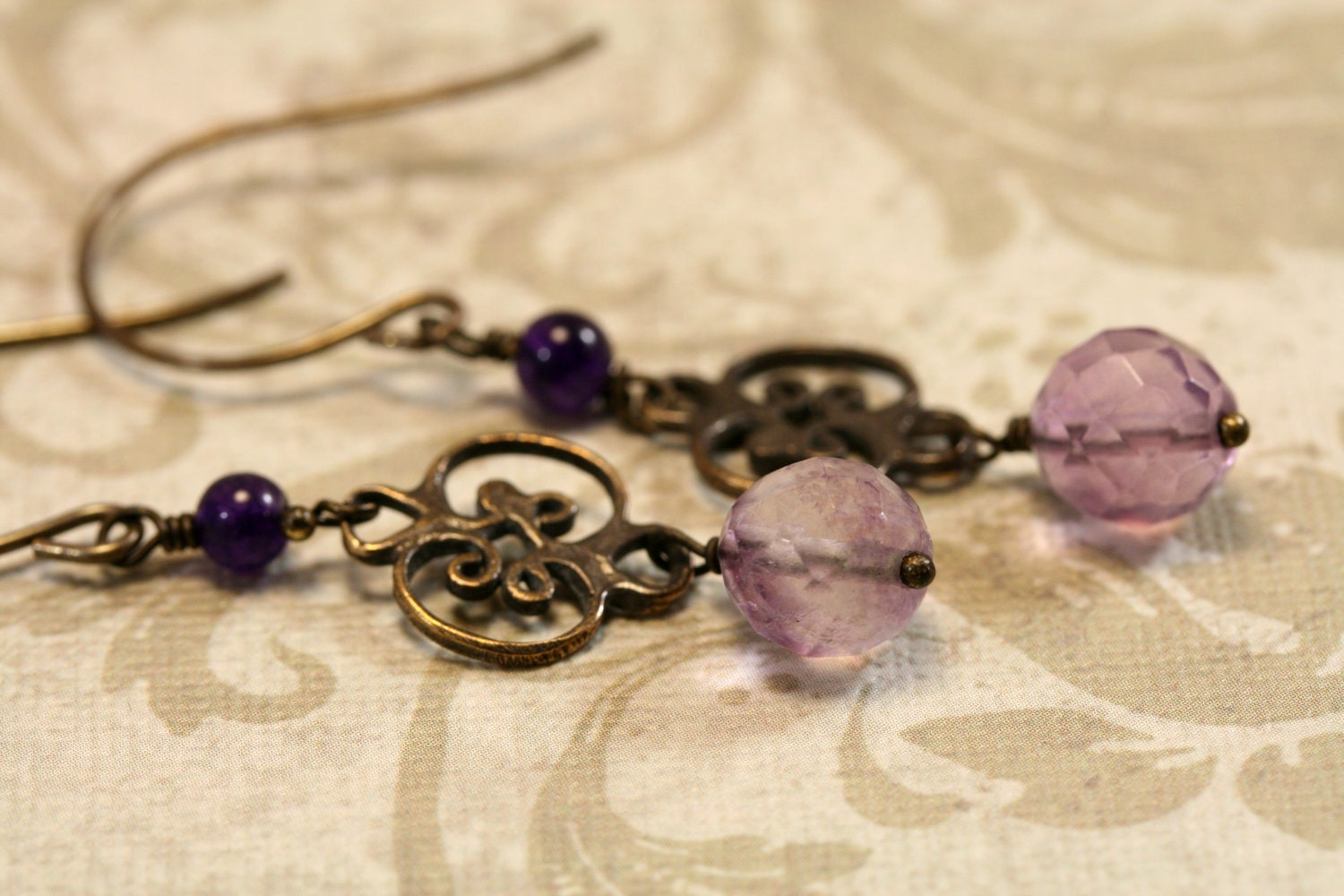 Gemstone, bronze scroll earrings, purple and brass - simply4him
