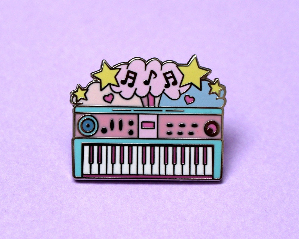 Synth keyboard enamel pin Music pin Retro pin Piano gifts Cute enamel pin Piano Pastel pin Synthesizer Retro toy Musician gift Instrument