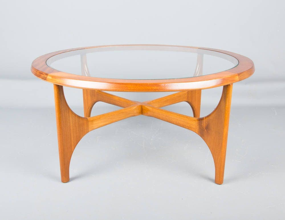 Mid century Stateroom Teak coffee Table by Stonehill with glass insert retro
