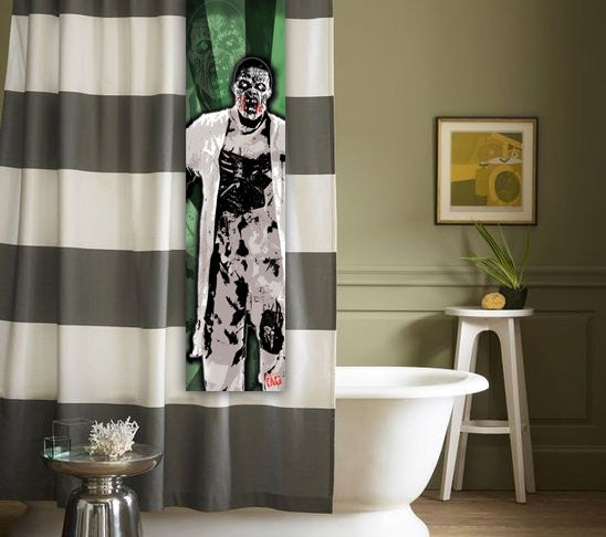 items similar to zombie shower tag for shower curtain