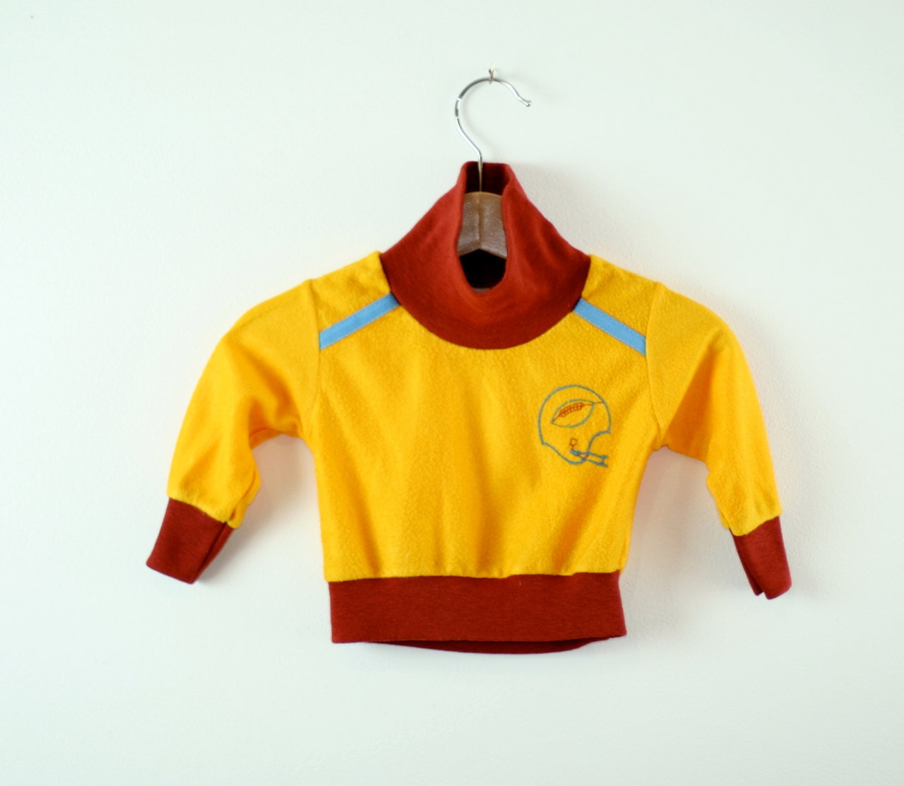 Vintage Baby Sweatshirt in Gold and Maroon Football Theme - udaskids