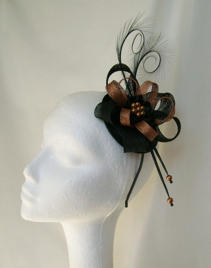 Black and Copper Pheasant Curl Feather Sinamay Loop  Pearl Fascinator Mini Hat  Made To Order