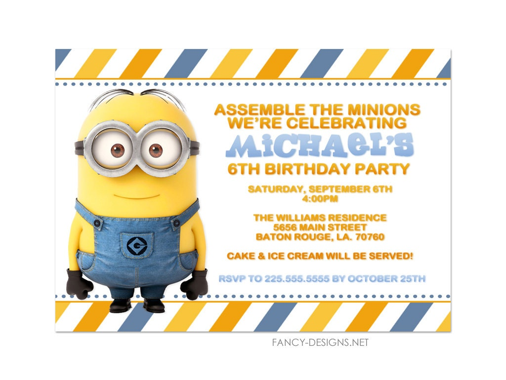 Minion Birthday Party Invitations 10 Invitations By Fancybelle