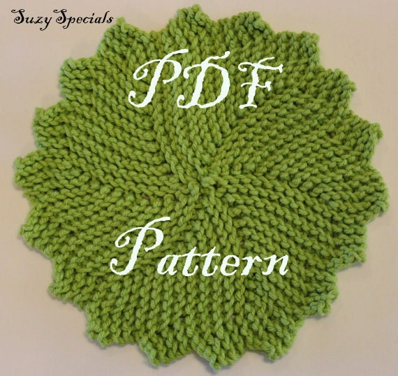 Knitted Round Wash/Dish Cloth Pattern PDF by SuzySpecials on Etsy