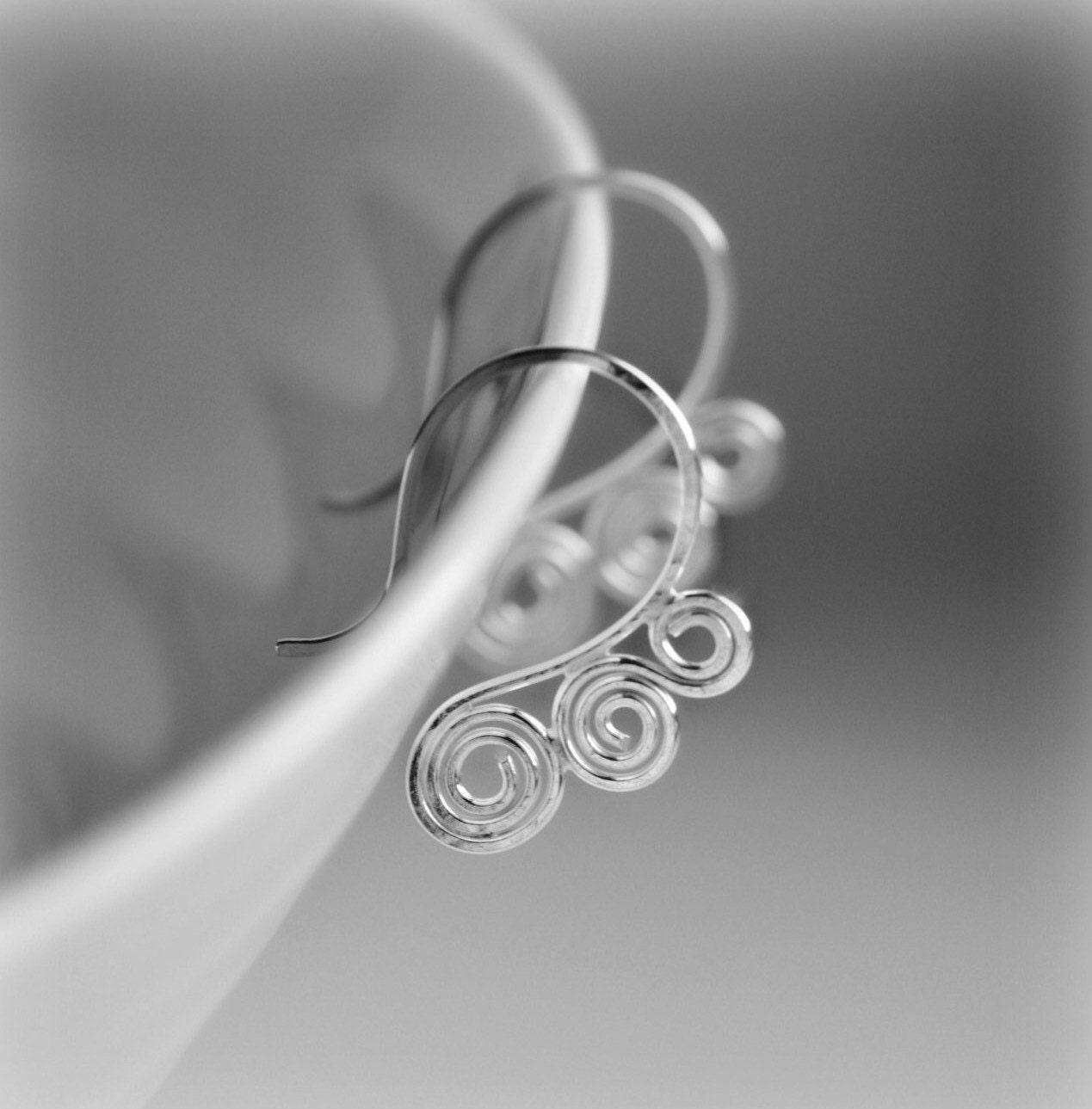 Sterling Silver Hoop Earrings Swirl Hoop Earrings Gift for Her Silver Hoop Earrings Sterling Silver Earrings  Handmade by Blissaria