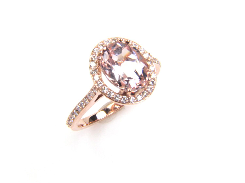 Morganite Ring Morganite and Diamond Ring Rose by bskdesigns