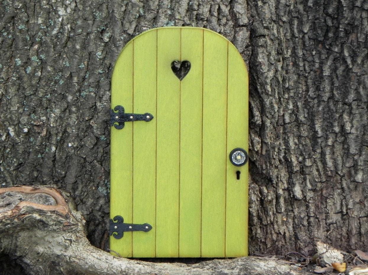 Fairy door fairy garden miniature wood citrus by for Wooden fairy doors that open