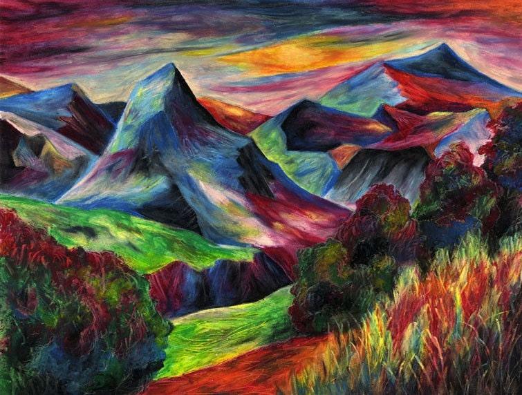 Rainbow Landscape original oil pastel drawing by michaeljehn