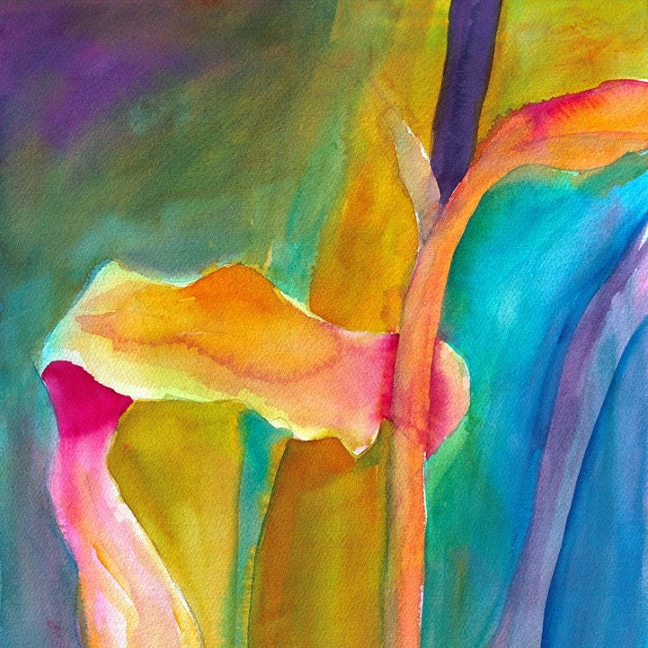 Tropical Abstract - Original Watercolor, Unframed - LynnCyrArt