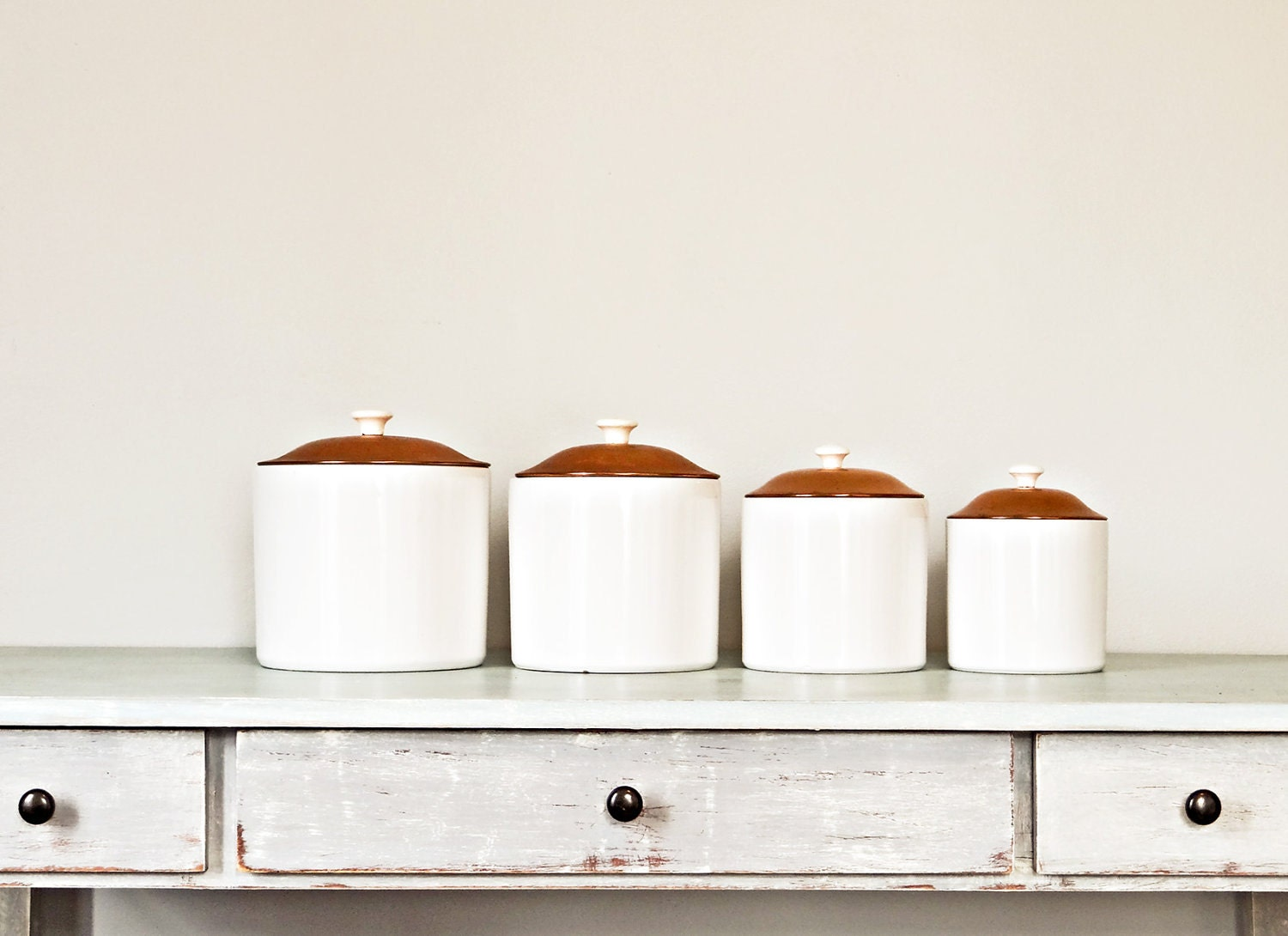 Items similar to 1950 s Ceramic Kitchen Canisters Set of