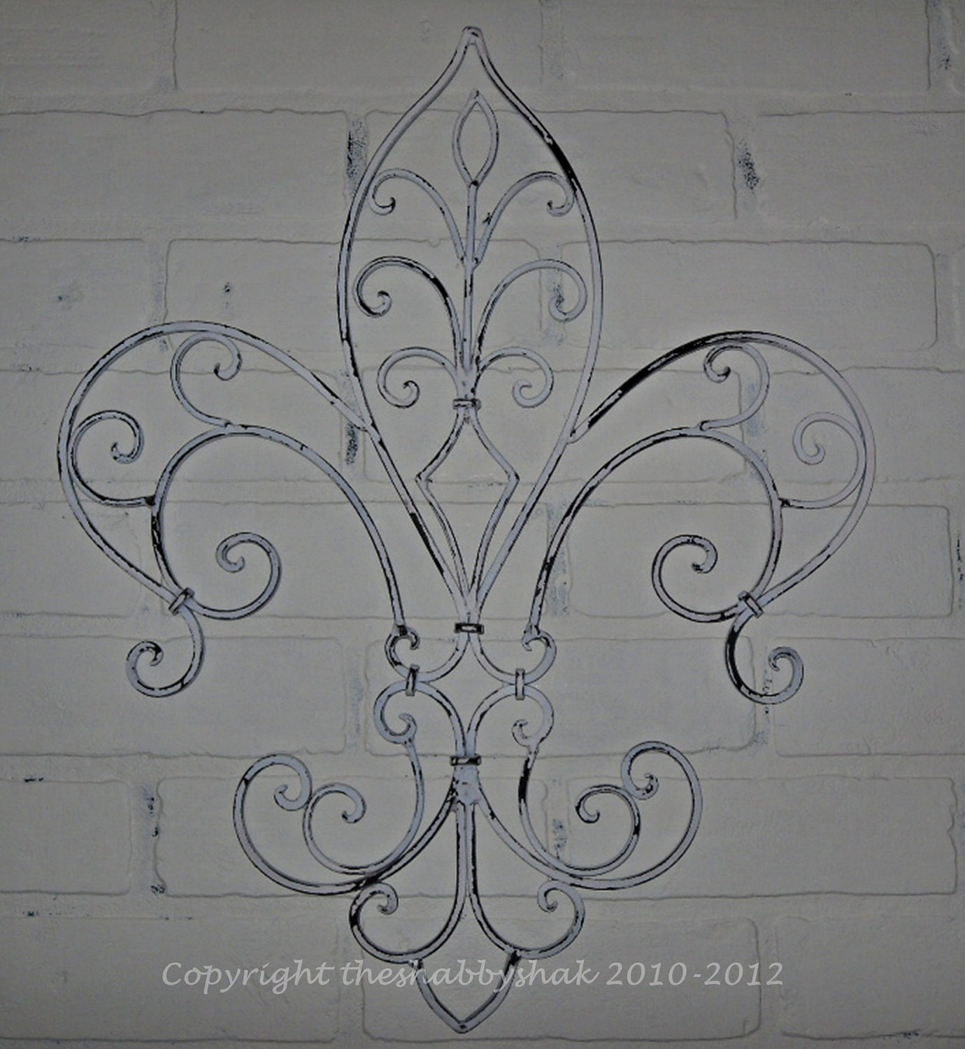 wrought iron fleur de lis wall decor wall by theshabbyshak. Black Bedroom Furniture Sets. Home Design Ideas