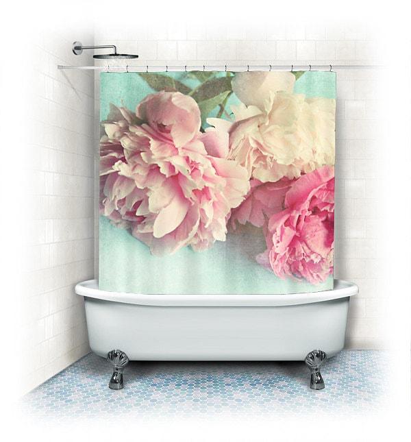 Peony Shower Curtain Like Yesterdayaqua Pink By