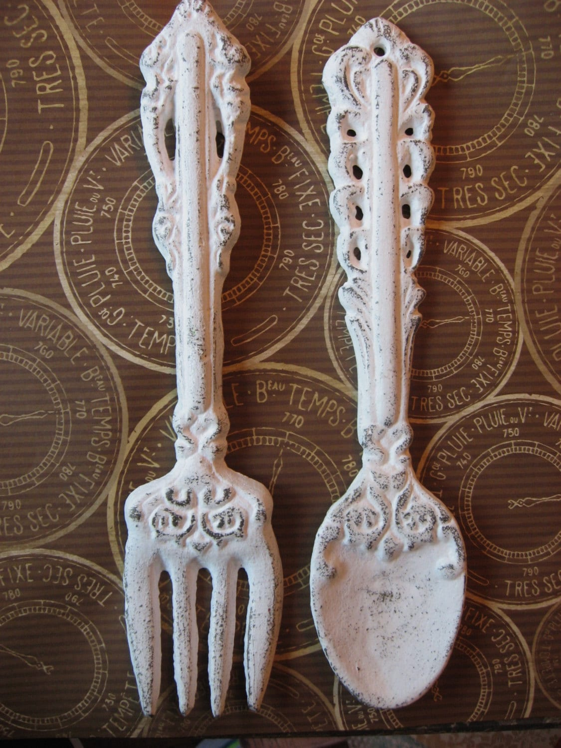 Silverware set wall hanging cast iron spoon by theturquoisecottage - Wrought iron flatware ...