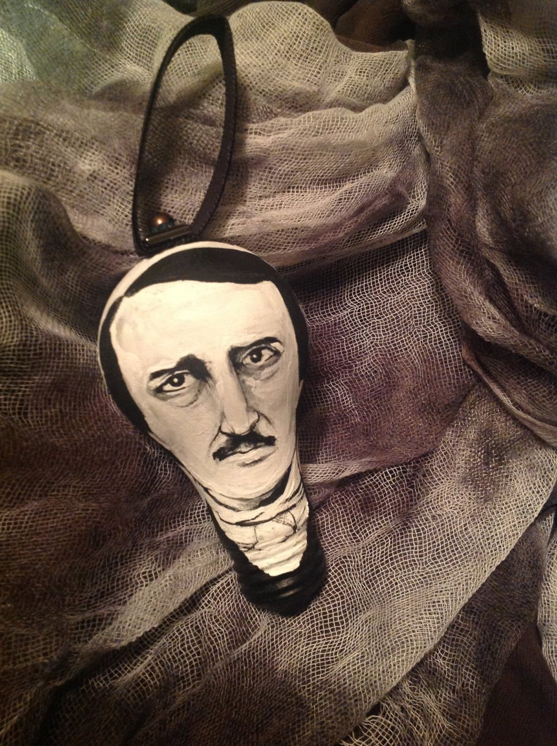 Edgar Allan Poe Hand Painted Ornament on Salvaged Burnt Out Light Bulb for Christmas or Halloween *MADE TO ORDER - TheGnarledBranch