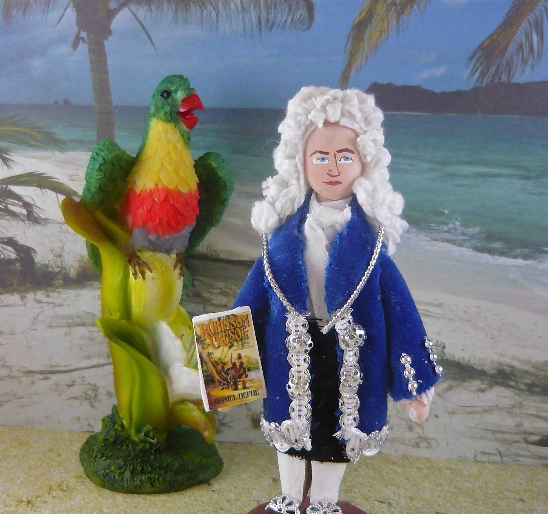 Daniel Defoe Doll Author of Robinson Crusoe Miniature