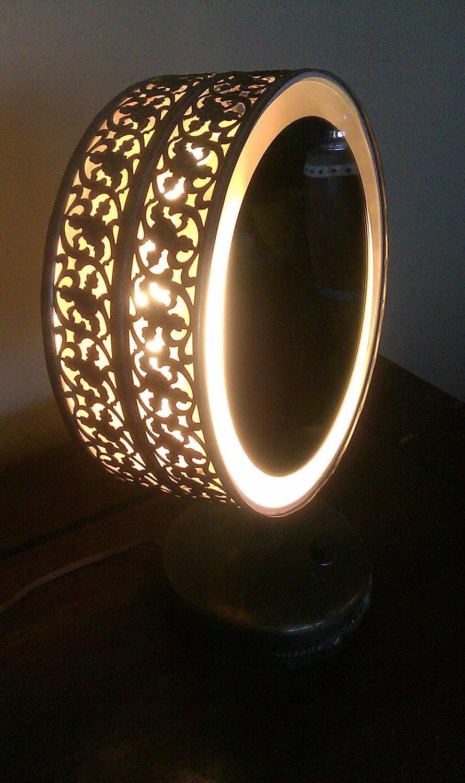 vintage table top lighted vanity makeup mirror by