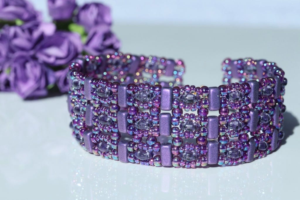 Purple and Amethyst Beaded Cuff Bracelet