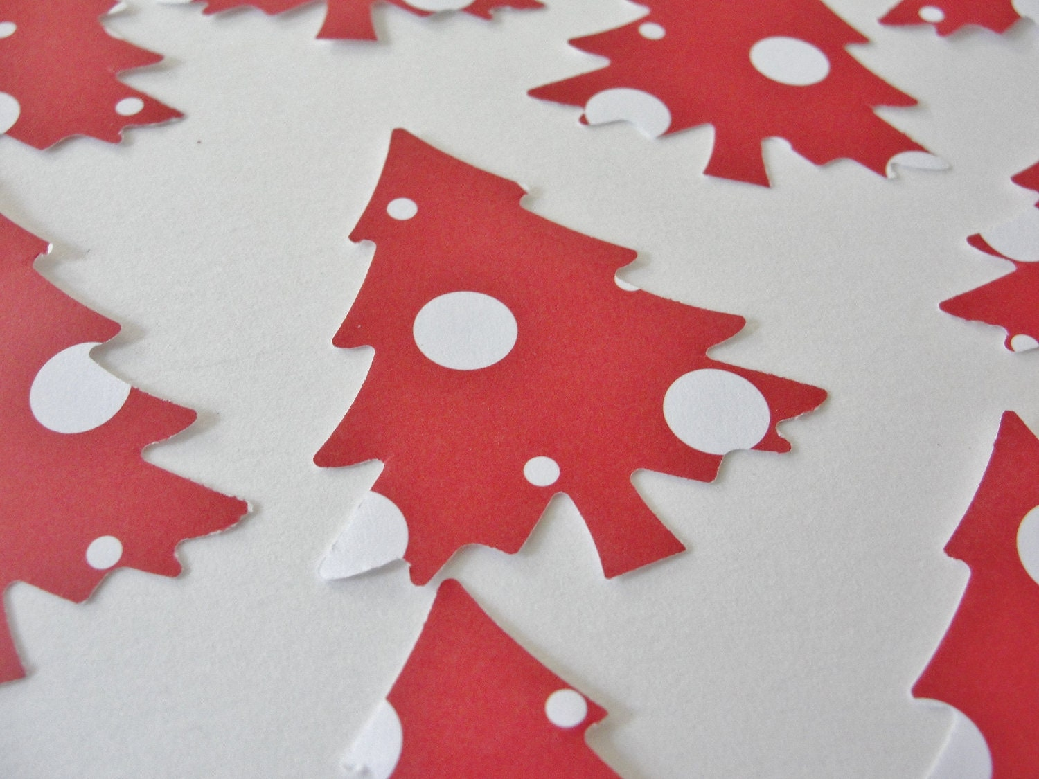 Items similar to christmas holiday tree red and white for Red and white polka dot decorations