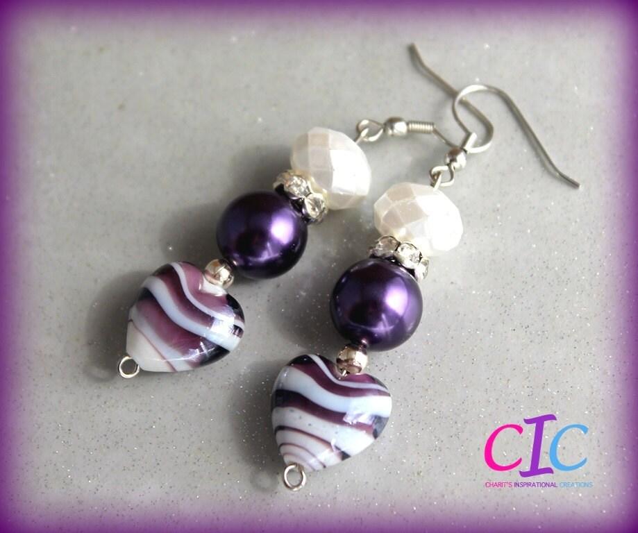 Purple and White Lampwork Heart Earrings