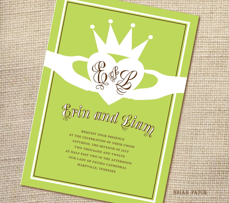 Celtic wedding invitations irish claddagh by briarpatchdesigns for Etsy wedding invitations ireland