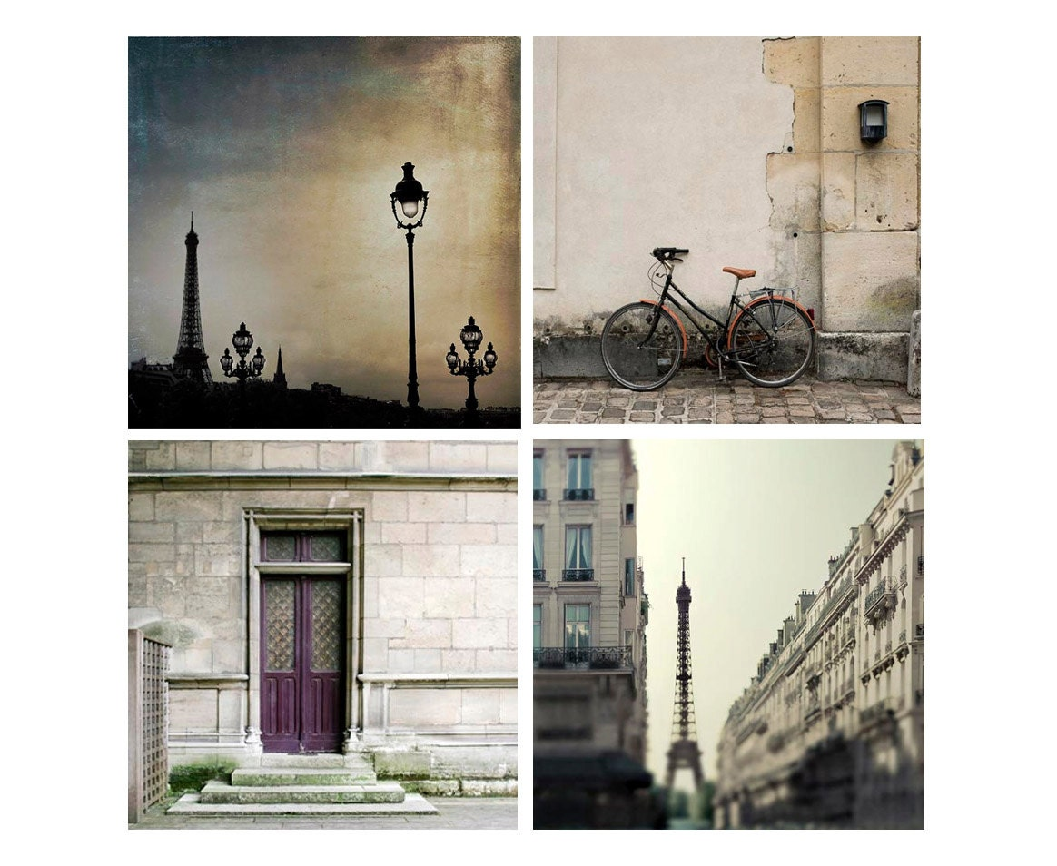 Paris Photography gift set, 4 5x5 Paris Travel Photos in neutral color and tones for your home decorating - Raceytay