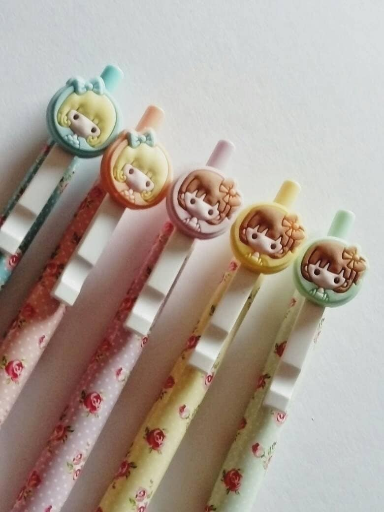 Cute girl pen floral pen  cute gel pen cute stationery black ink planner accessories planner gifts stationery gifts