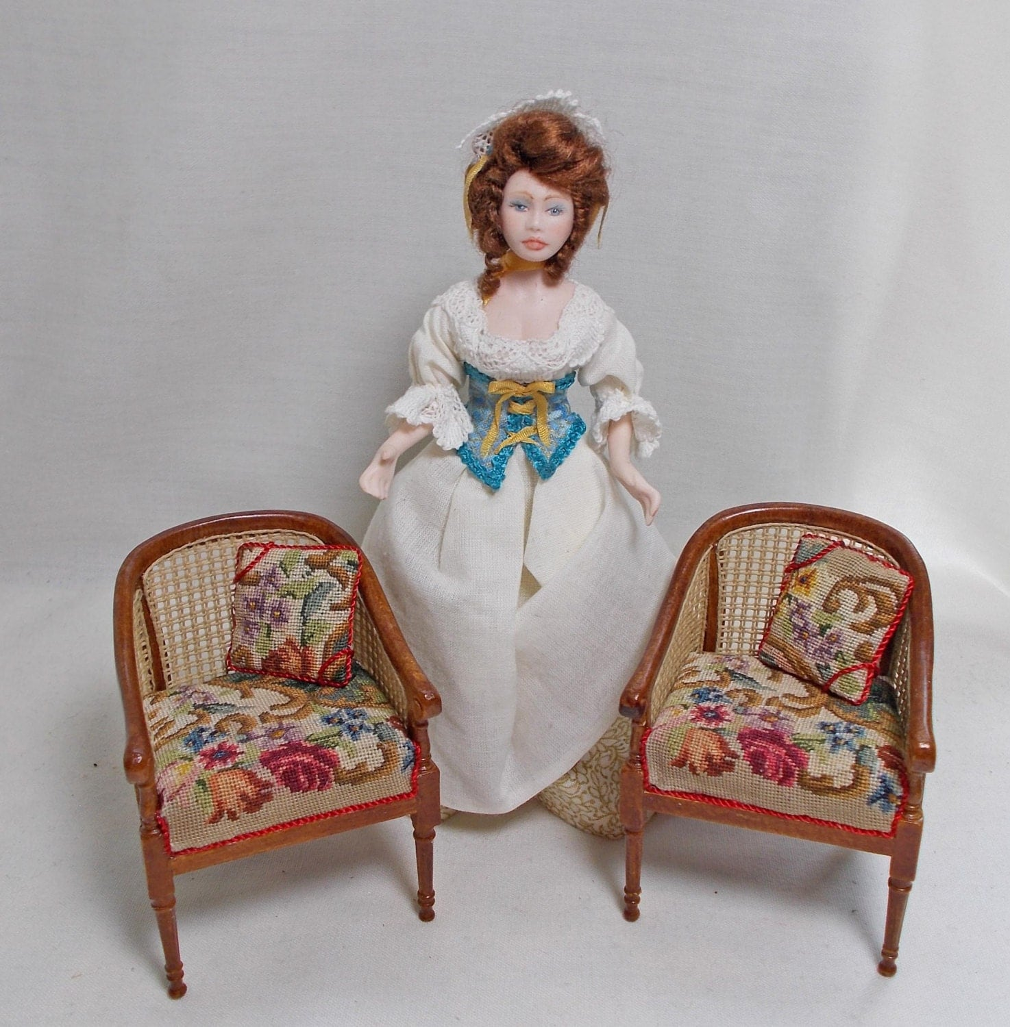Dollhouse Pair of Canvas Tub  Club Chairs with Floral Antique Petit Point