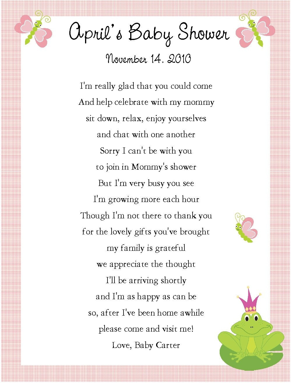 baby shower thank you poems for guests car interior design
