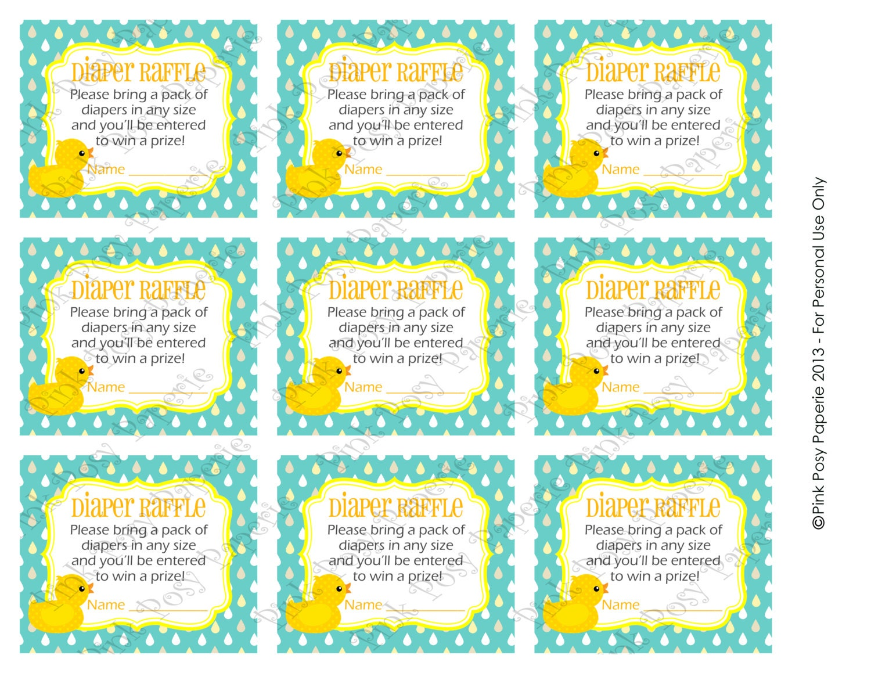 ... Rubber Ducky Gender Neutral Baby Shower Diaper Raffle Tickets