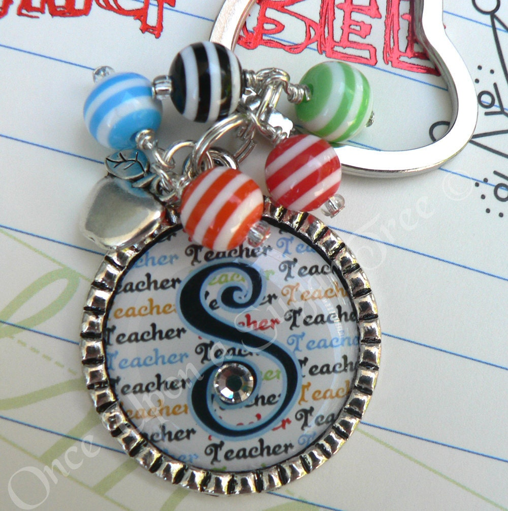 Colorful TEACHER Initial Bezel Teacher Keychain with Apple Charm-Teacher Appreciation Gift Present By Once Upon a Sugar Tree No.9