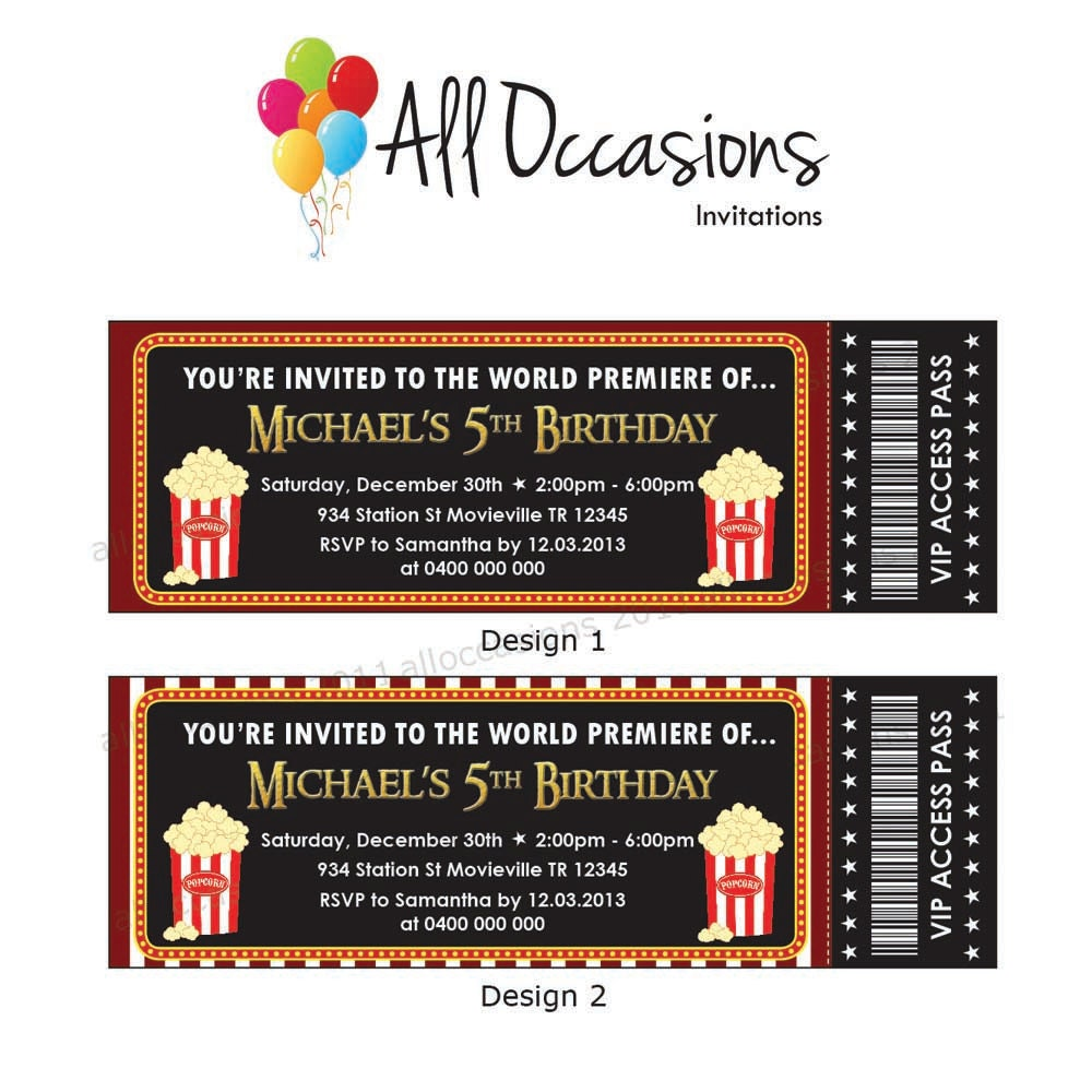 Movie Ticket. Movie Party, Slumber Party Birthday Ticket Invitations