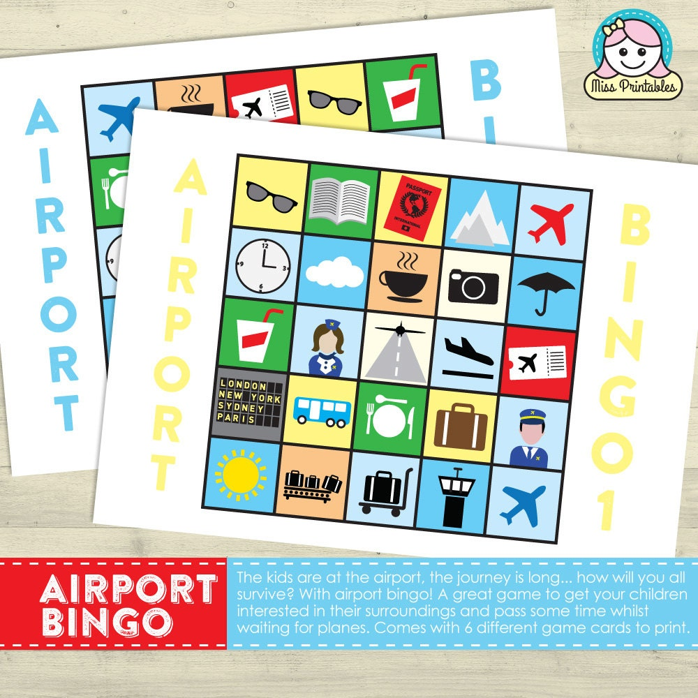 Airport bingo  printable game for any trips involving the airport