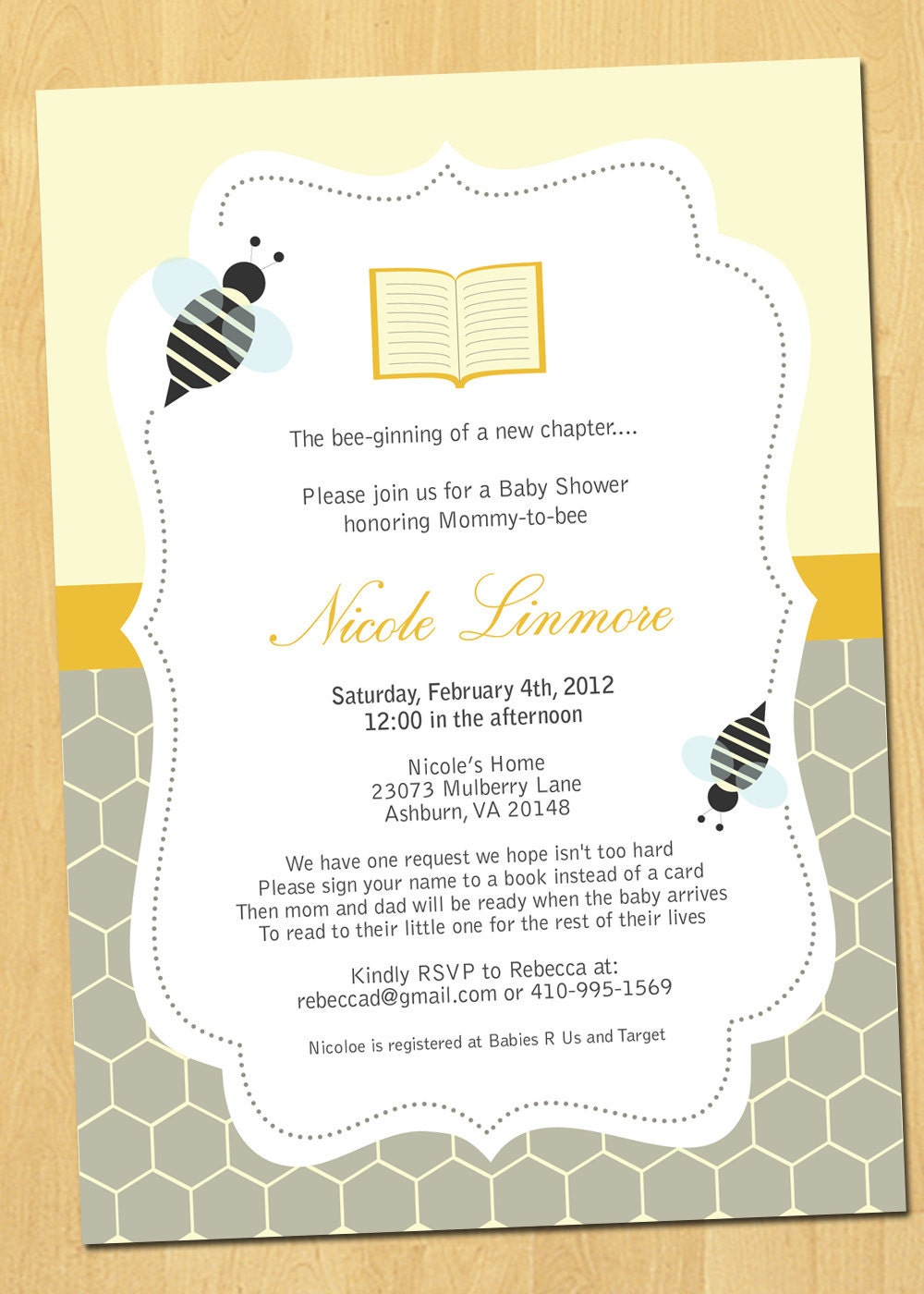 books and bees baby shower invitation printable by thepaperplume