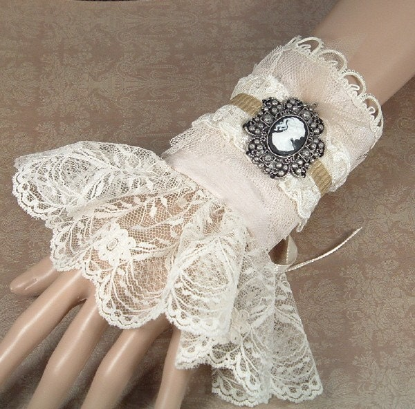 Steampunk Victorian Cuff in Champagne with Cream Colored Lace and Gunmetal Cameo