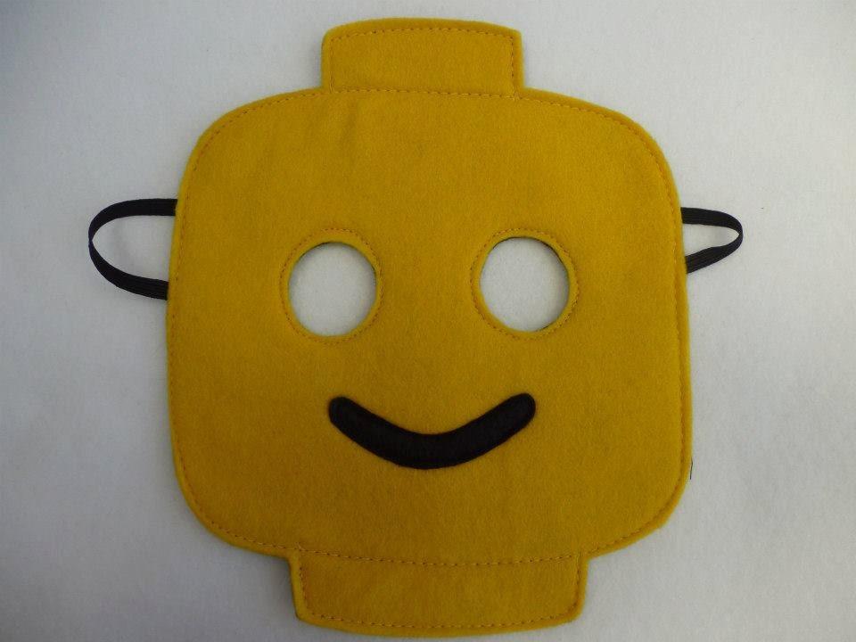 Lego inspired yellow smiling mask for children. от MummyHughesy