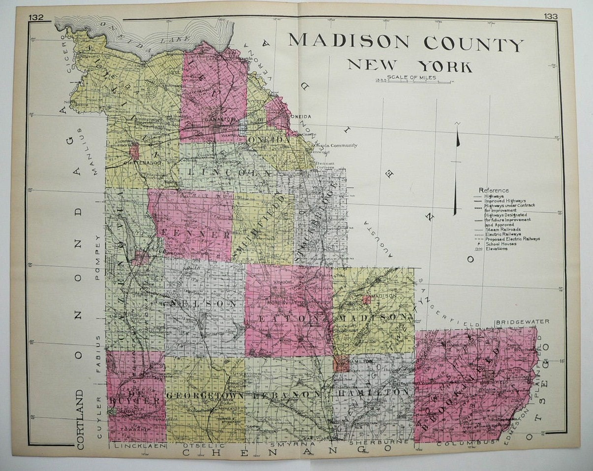 1912 Big Madison County New York NY Antique By