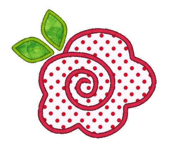 Rose applique machine embroidery design instant by sewchacha