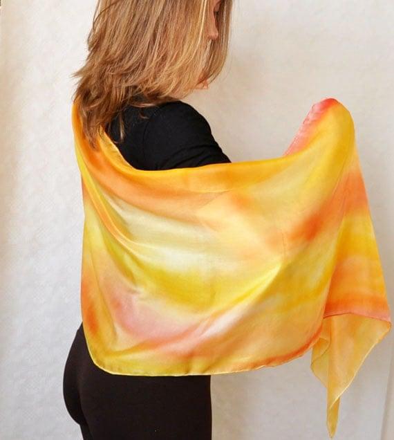 Handmade Scarf. Hand Painted  Silk Scarf. Shades of red , orange , yellow .Size 45x180 cm. - KatarzynaKaMaART