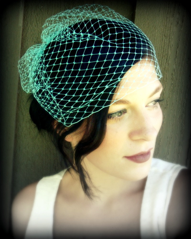 Birdcage Veil -Turquoise French Netting