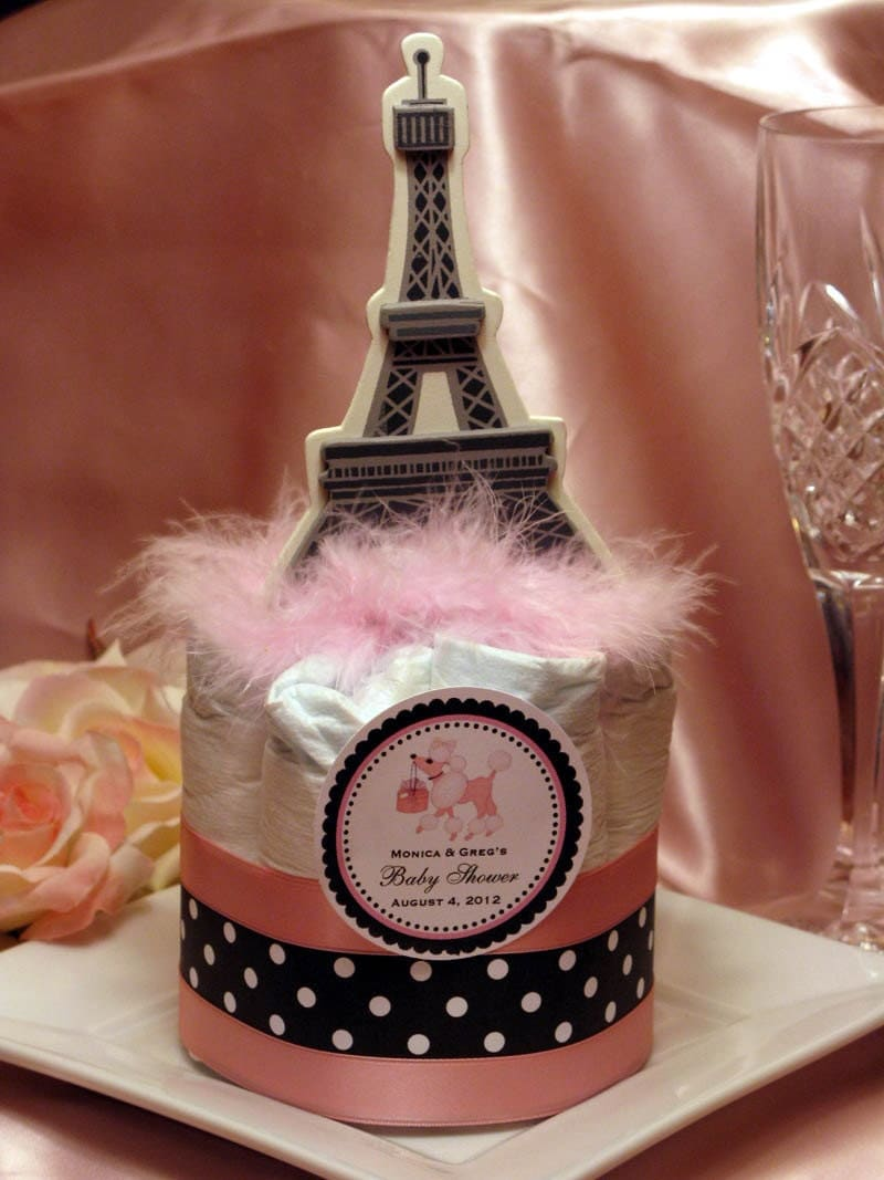 poodle in paris themed diaper cake centerpieces baby shower favors