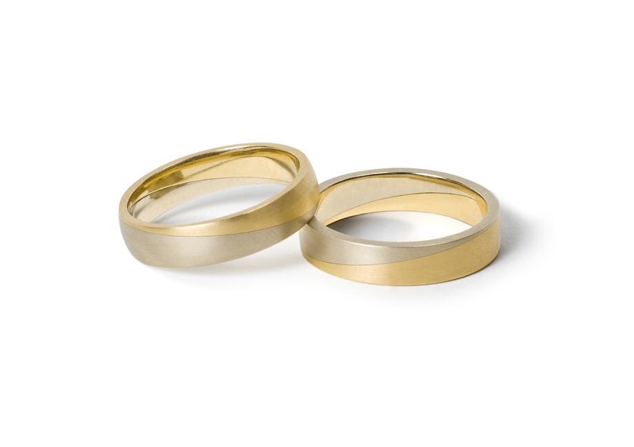 WEDDING Ring Set, white  yellow gold, 18K, UNION