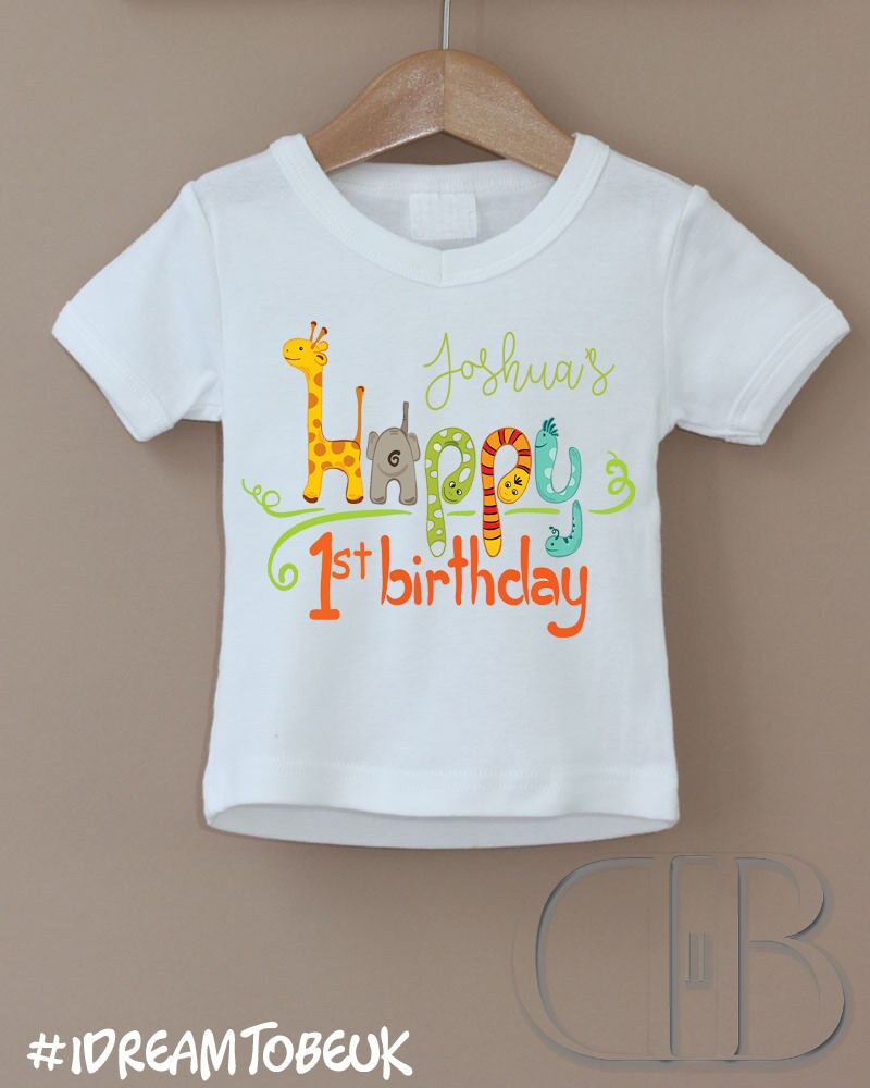Personalised childrens kids 1st special birthday party tshirt design. Animal zoo contemporary clothing. Personalise childs name top