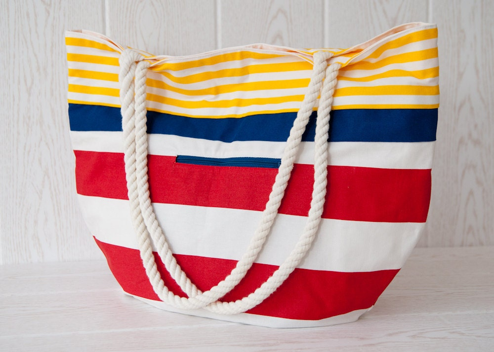 Large beach bag. Nautical stripes in yellow, blue and red